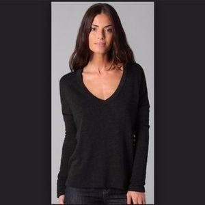 James Perse French Terry Long Sleeve V-Neck XL